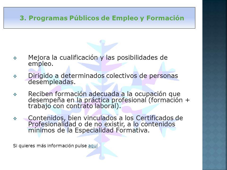 Mejora la cualificación y las posibilidades de empleo. Dirigido a determinados colectivos de personas desempleadas. Reciben formación adecuada a la oc