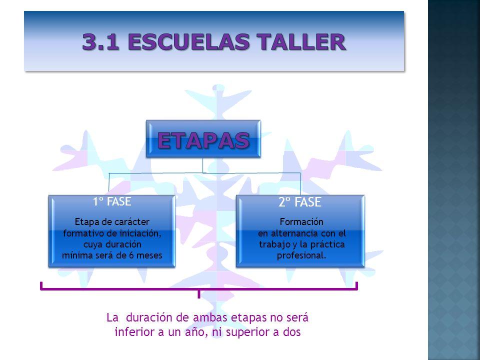 1º FASE 2º FASE Etapa de carácter formativo de iniciación, cuya duración mínima será de 6 meses Formación en alternancia con el trabajo y la práctica
