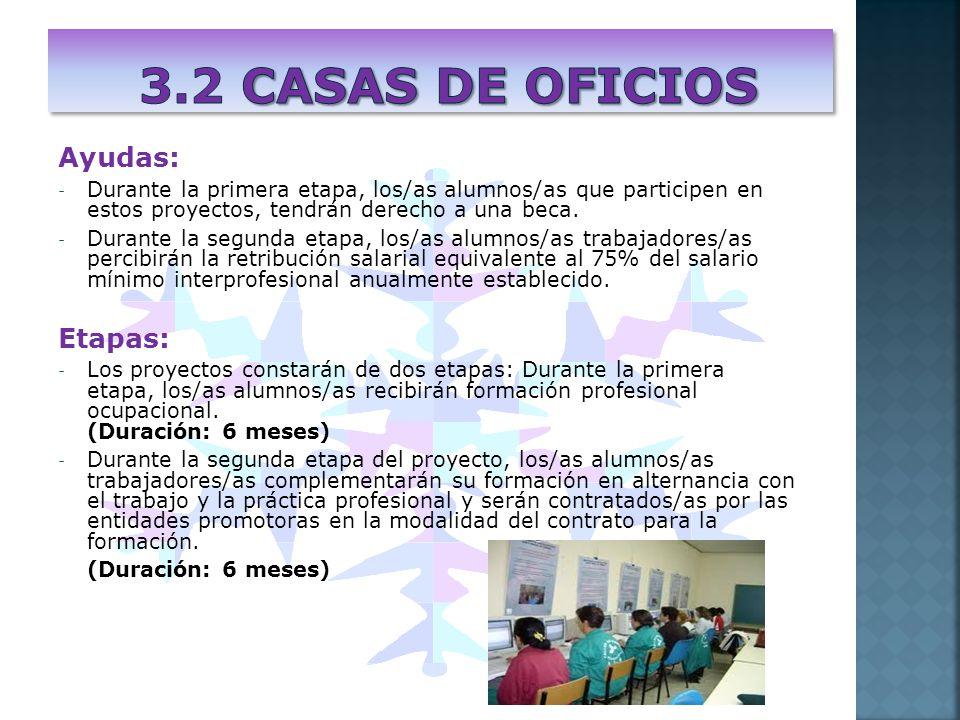 Ayudas: - Durante la primera etapa, los/as alumnos/as que participen en estos proyectos, tendrán derecho a una beca. - Durante la segunda etapa, los/a