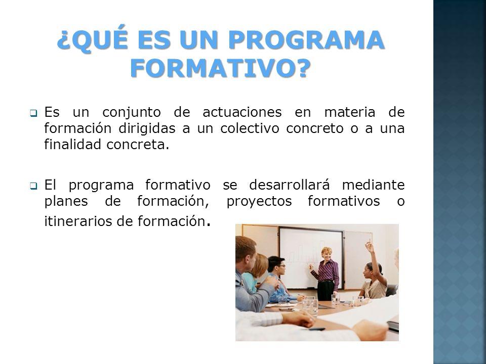Es un conjunto de actuaciones en materia de formación dirigidas a un colectivo concreto o a una finalidad concreta. El programa formativo se desarroll