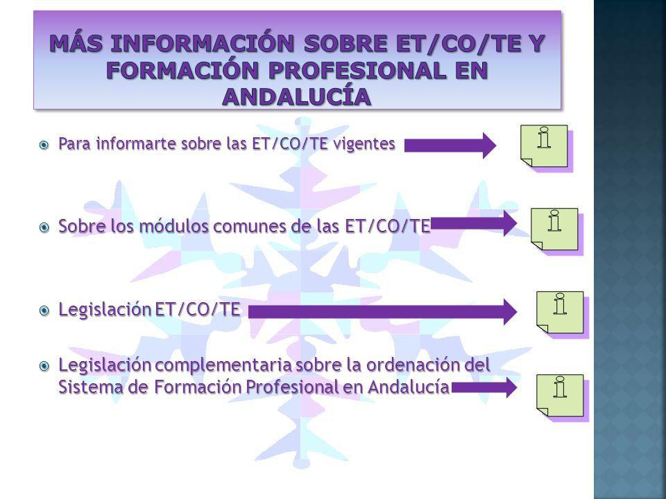 Para informarte sobre las ET/CO/TE vigentes Para informarte sobre las ET/CO/TE vigentes Sobre los módulos comunes de las ET/CO/TE Sobre los módulos comunes de las ET/CO/TE Legislación ET/CO/TE Legislación ET/CO/TE Legislación complementaria sobre la ordenación del Sistema de Formación Profesional en Andalucía Legislación complementaria sobre la ordenación del Sistema de Formación Profesional en Andalucía