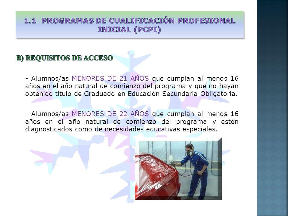 Constan de los siguientes tipos de módulos: MÓDULOS OBLIGATORIOS a) Módulos específicos - Módulos profesionales asociados a unidades de competencia de una cualificación profesional de nivel uno - Módulo de Formación en Centros de Trabajo b) Módulos de formación general - Módulo de proyecto emprendedor - Módulo de participación y ciudadanía - Módulo de libre configuración MÓDULOS VOLUNTARIOS c) Conducen a la obtención del título de ESO y se organizan en: - Módulo de comunicación: aspectos básicos del currículo de Lengua e Idioma - Módulo social: Aspectos básicos de Ciencias Sociales, Geografía e Historia - Módulo científico-tecnológico: Aspectos básicos de Ciencias de la naturaleza, Matemáticas, tecnología y algunos aspectos de Educación Física