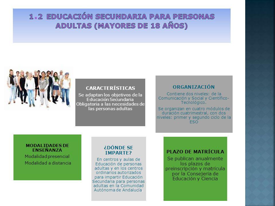 CARACTERÍSTICAS Se adaptan los objetivos de la Educación Secundaria Obligatoria a las necesidades de las personas adultas ORGANIZACIÓN Contiene dos niveles: de la Comunicación y Social y Científico- Tecnológico.