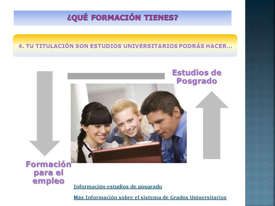 4. TU TITULACIÓN SON ESTUDIOS UNIVERSITARIOS PODRÁS HACER… Estudios de Posgrado Formación para el empleo Información estudios de posgrado Más Informac