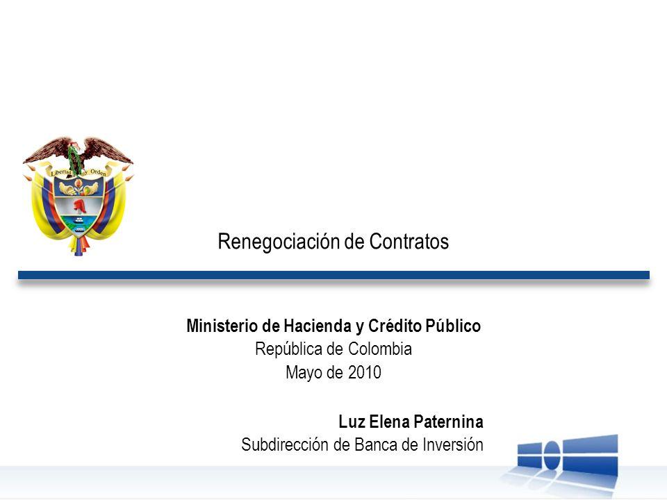 Renegociación de Contratos Ministerio de Hacienda y Crédito Público República de Colombia Mayo de 2010 Luz Elena Paternina Subdirección de Banca de In
