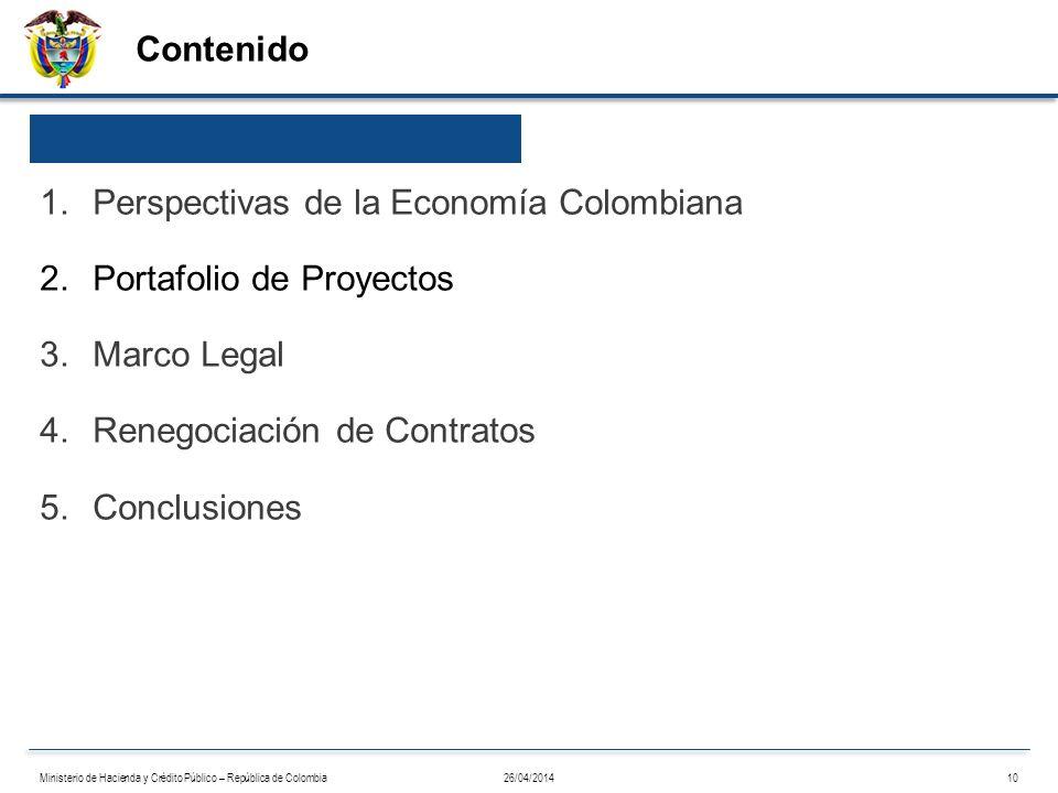 Contenido 26/04/201410Ministerio de Hacienda y Crédito Público – República de Colombia 1.Perspectivas de la Economía Colombiana 2.Portafolio de Proyec