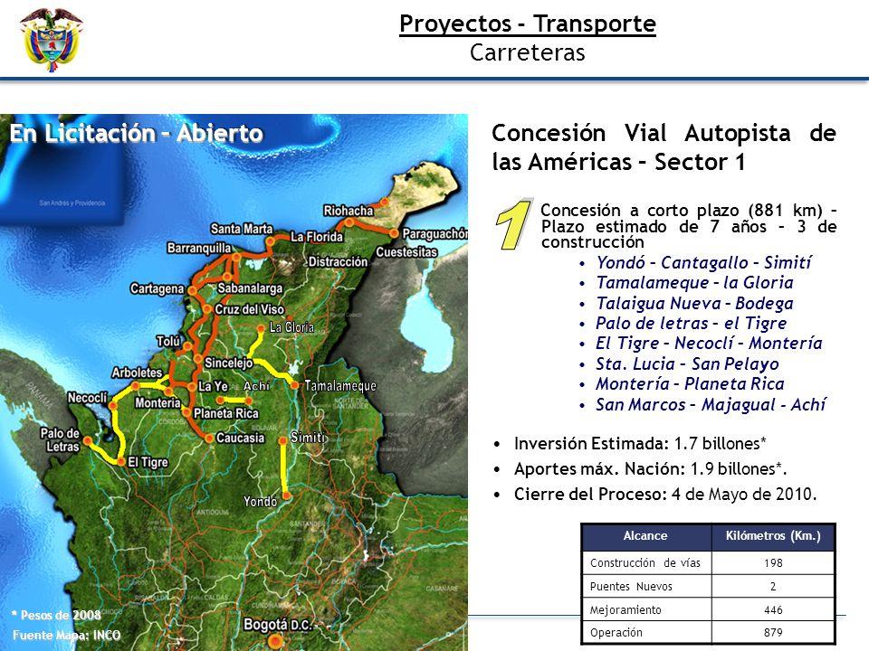 Fuente Mapa: INCO En Licitación – Abierto * Pesos de 2008 AlcanceKilómetros (Km.) Construcción de vías198 Puentes Nuevos2 Mejoramiento446 Operación879