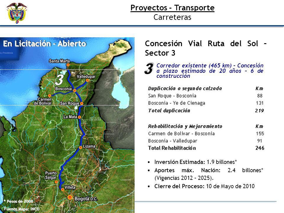 Fuente Mapa: INCO En Licitación - Abierto Corredor existente (465 km) – Concesión a plazo estimado de 20 años – 6 de construcción Concesión Vial Ruta
