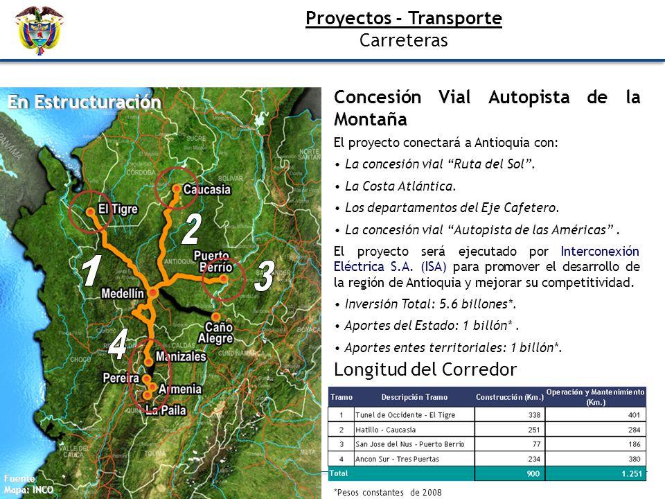 Proyectos - Transporte Carreteras Concesión Vial Autopista de la Montaña El proyecto conectará a Antioquia con: La concesión vial Ruta del Sol. La Cos