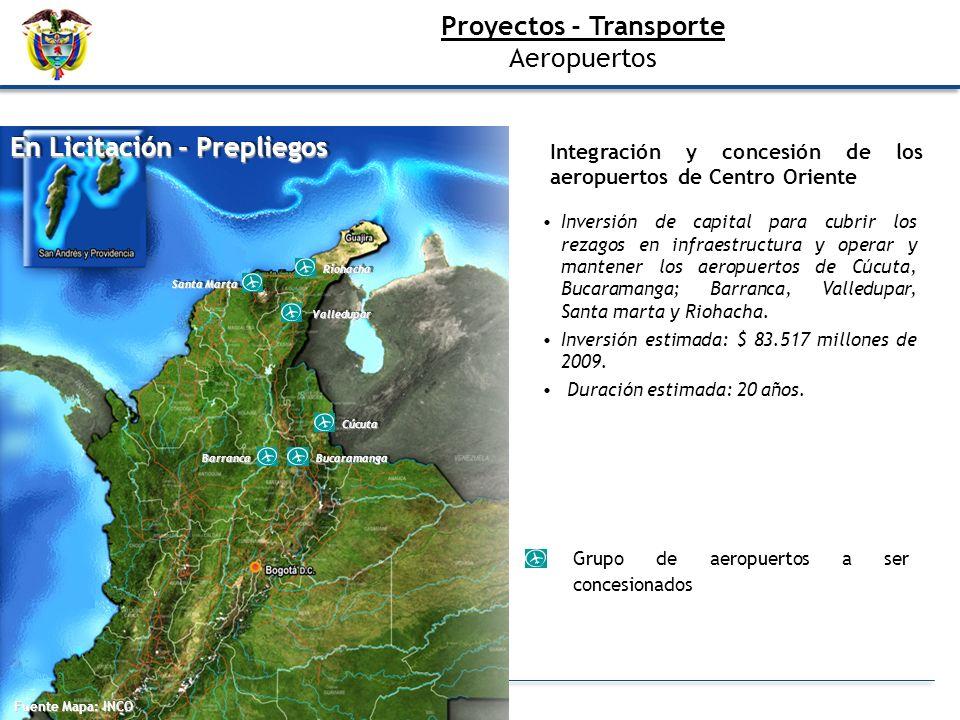 Fuente Mapa: INCO En Licitación - Prepliegos RiohachaRiohacha Santa Marta ValleduparValledupar CúcutaCúcuta BarrancaBarrancaBucaramangaBucaramanga Gru