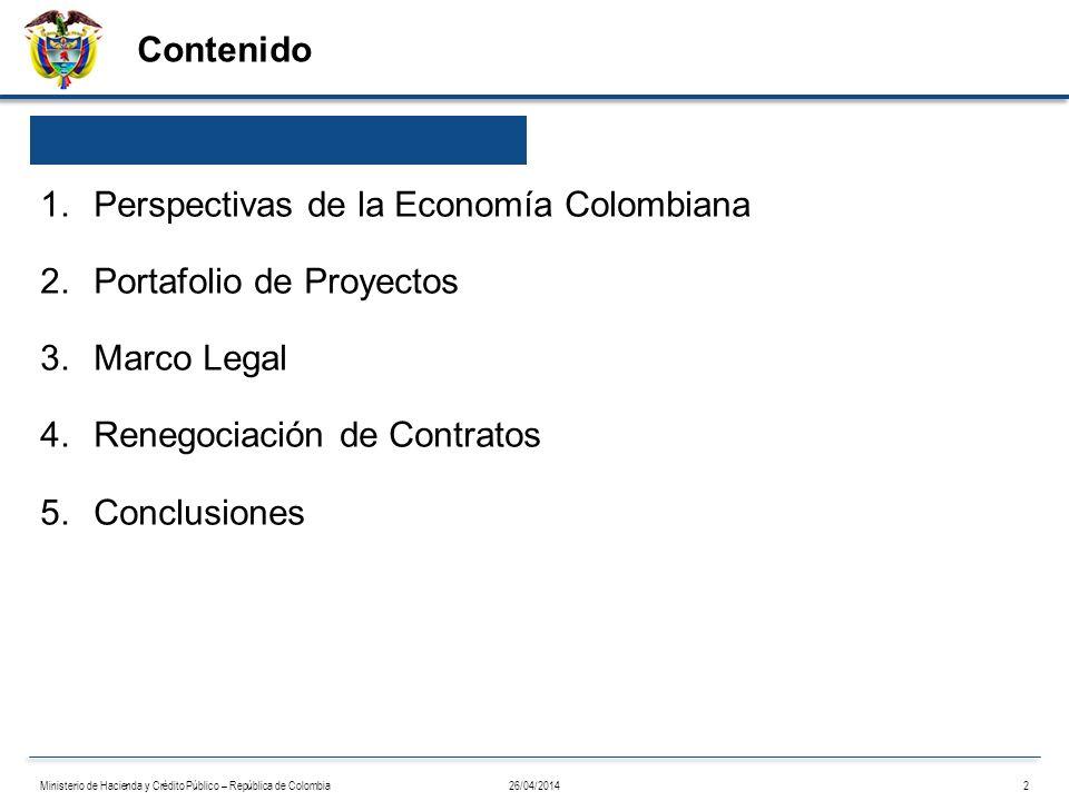 Contenido 26/04/20142Ministerio de Hacienda y Crédito Público – República de Colombia 1.Perspectivas de la Economía Colombiana 2.Portafolio de Proyect