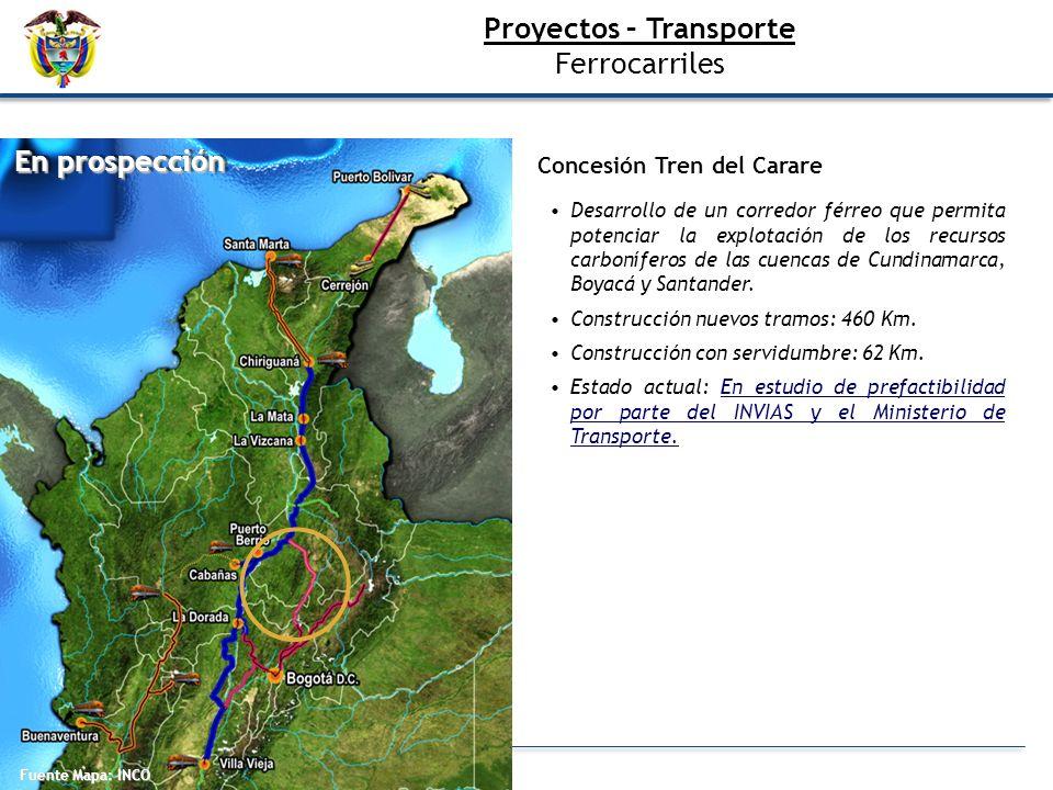 Concesión Tren del Carare Desarrollo de un corredor férreo que permita potenciar la explotación de los recursos carboníferos de las cuencas de Cundina