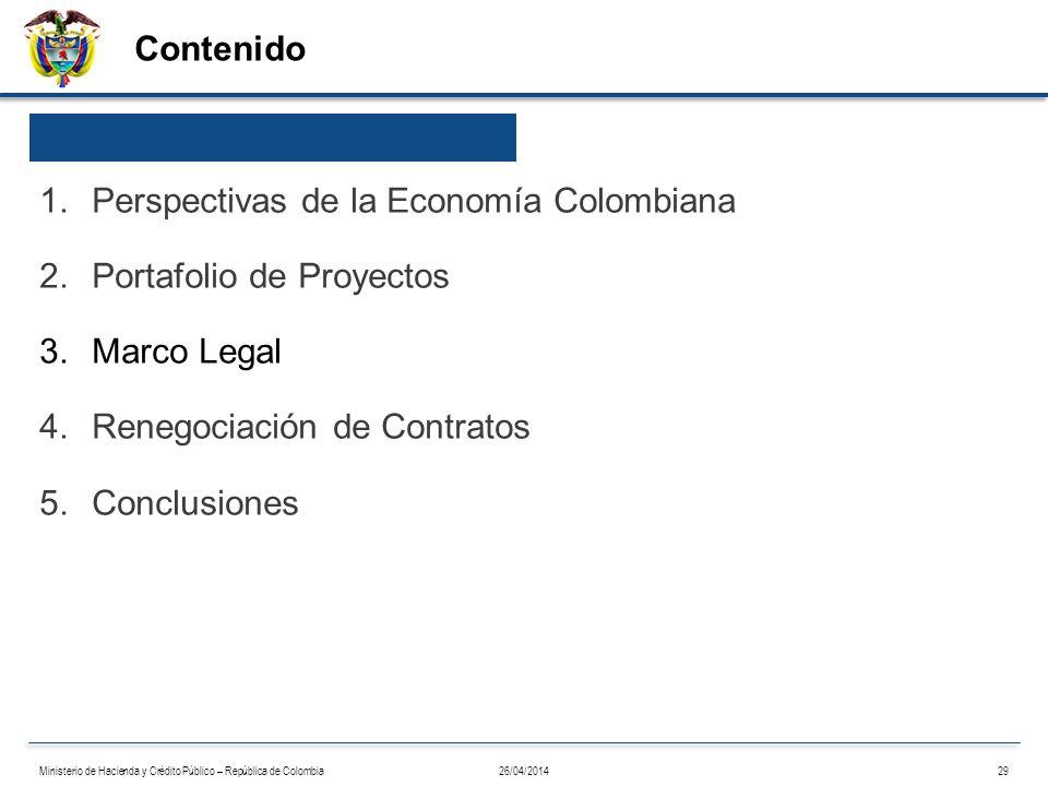 Contenido 26/04/201429Ministerio de Hacienda y Crédito Público – República de Colombia 1.Perspectivas de la Economía Colombiana 2.Portafolio de Proyec