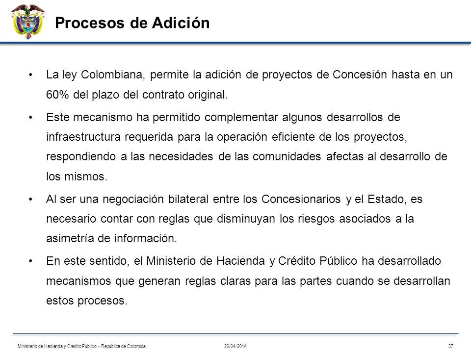 Procesos de Adición La ley Colombiana, permite la adición de proyectos de Concesión hasta en un 60% del plazo del contrato original. Este mecanismo ha
