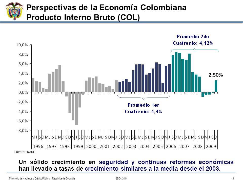 Fuente: DANE Un sólido crecimiento en seguridad y continuas reformas económicas han llevado a tasas de crecimiento similares a la media desde el 2003.