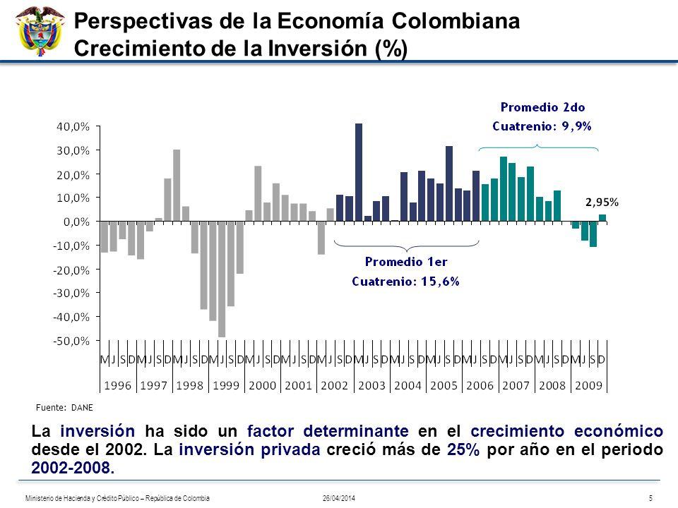 Fuente: DANE La inversión ha sido un factor determinante en el crecimiento económico desde el 2002. La inversión privada creció más de 25% por año en