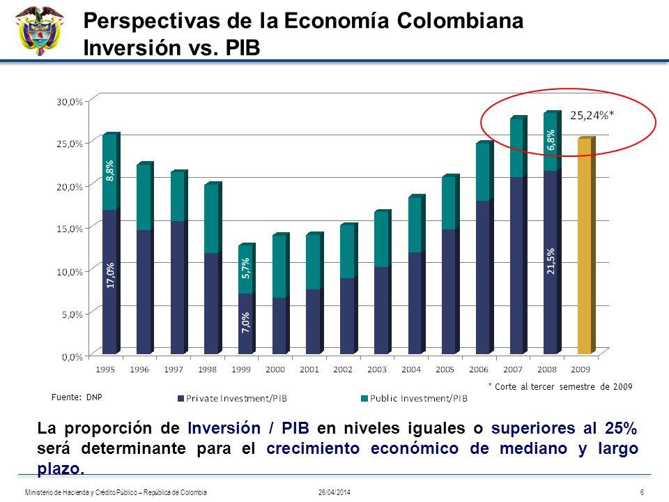 Fuente: DNP La proporción de Inversión / PIB en niveles iguales o superiores al 25% será determinante para el crecimiento económico de mediano y largo
