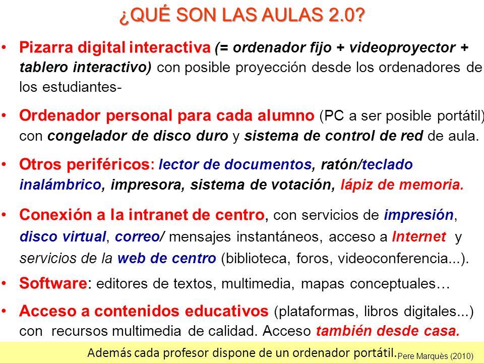 ¿QUÉ SON LAS AULAS 2.0? Pizarra digital interactiva (= ordenador fijo + videoproyector + tablero interactivo) con posible proyección desde los ordenad