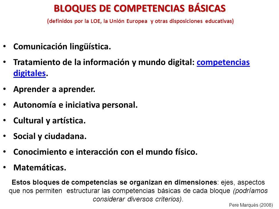 (definidos por la LOE, la Unión Europea y otras disposiciones educativas) Comunicación lingüística. Tratamiento de la información y mundo digital: com