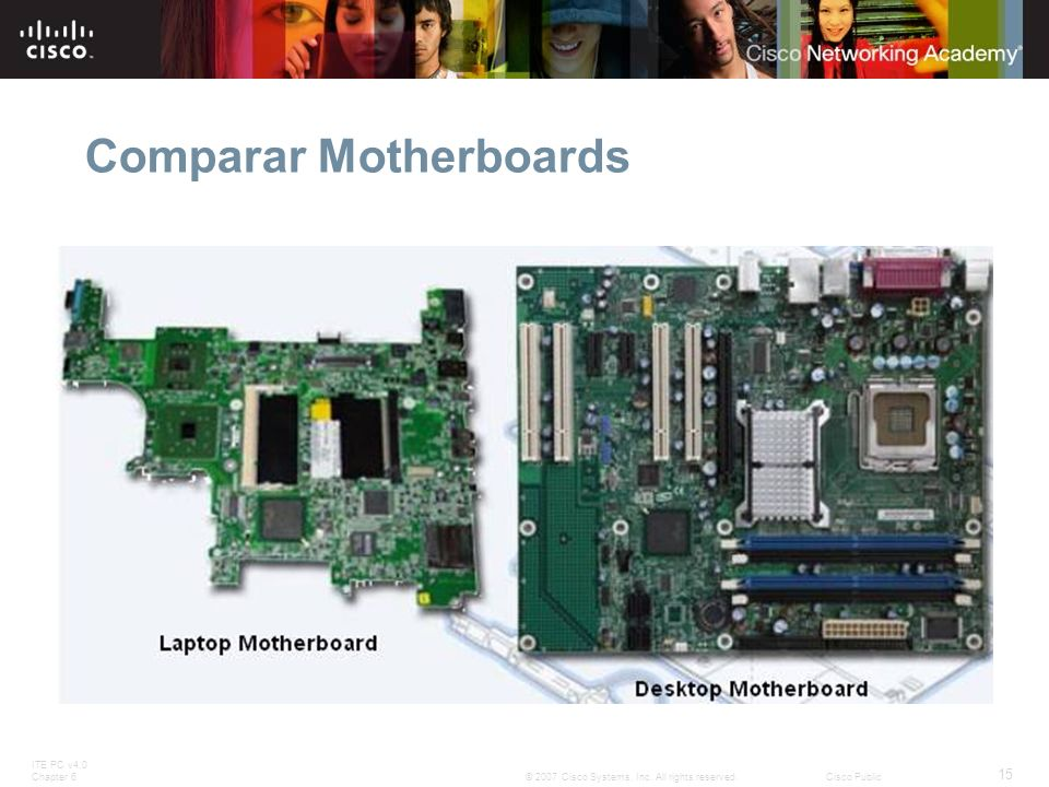 ITE PC v4.0 Chapter 6 15 © 2007 Cisco Systems, Inc. All rights reserved.Cisco Public Comparar Motherboards
