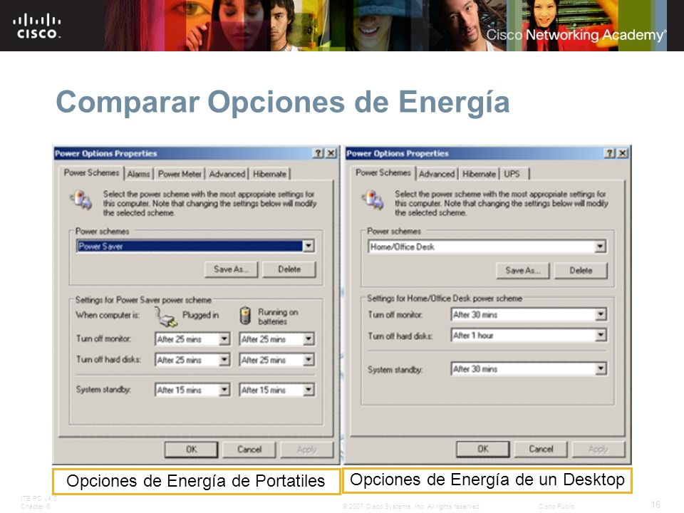 ITE PC v4.0 Chapter 6 16 © 2007 Cisco Systems, Inc. All rights reserved.Cisco Public Comparar Opciones de Energía Opciones de Energía de Portatiles Op