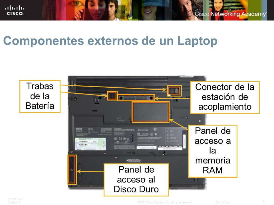 ITE PC v4.0 Chapter 6 8 © 2007 Cisco Systems, Inc. All rights reserved.Cisco Public Panel de acceso al Disco Duro Trabas de la Batería Conector de la