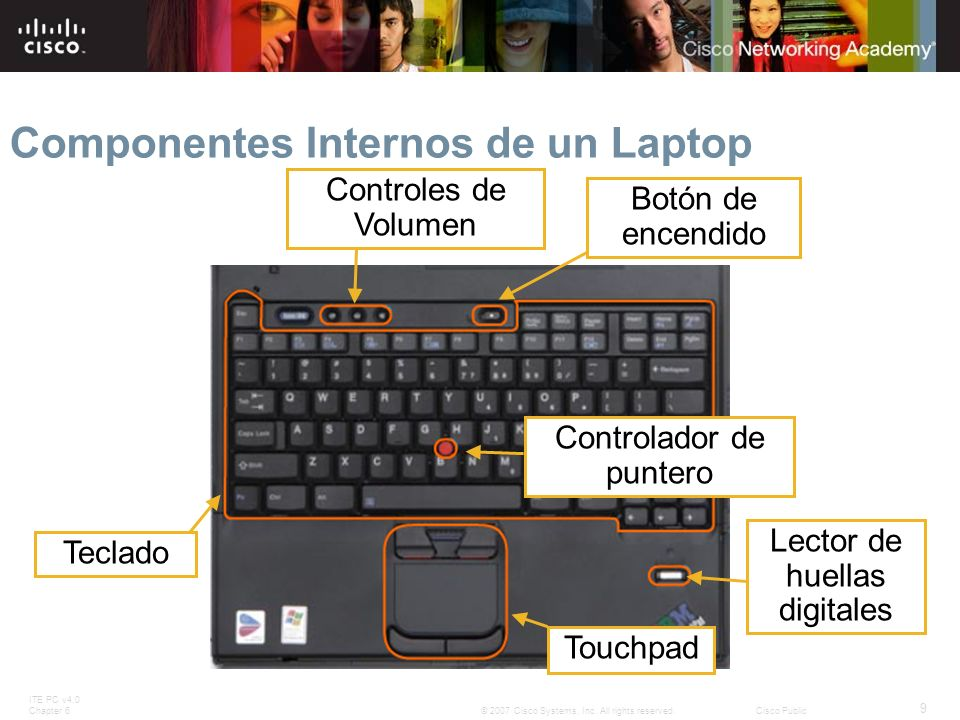 ITE PC v4.0 Chapter 6 9 © 2007 Cisco Systems, Inc. All rights reserved.Cisco Public Componentes Internos de un Laptop Teclado Controles de Volumen Bot