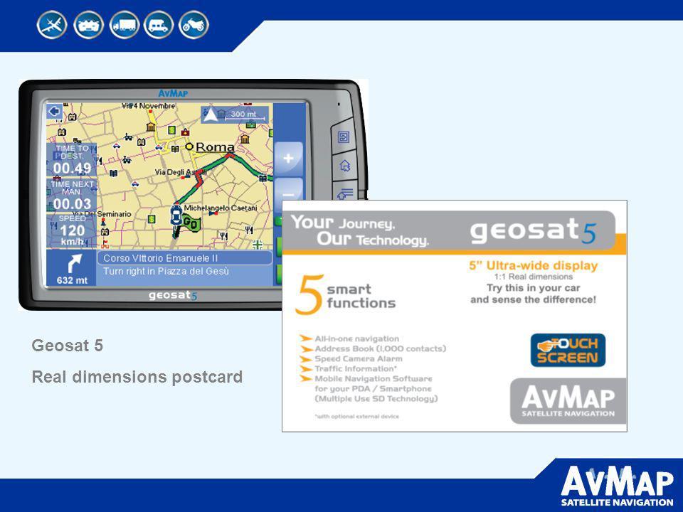 Geosat 5 Real dimensions postcard