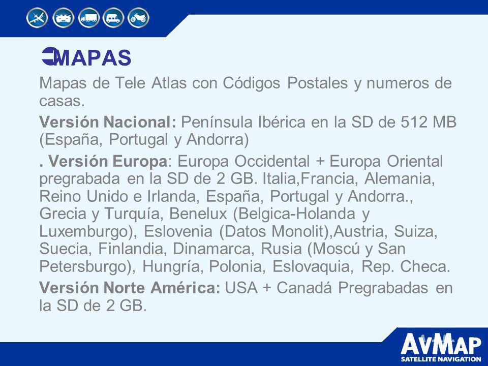 MAPAS Mapas de Tele Atlas con Códigos Postales y numeros de casas. Versión Nacional: Península Ibérica en la SD de 512 MB (España, Portugal y Andorra)
