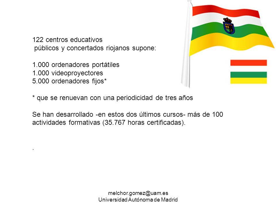 melchor.gomez@uam.es Universidad Autónoma de Madrid 122 centros educativos públicos y concertados riojanos supone: 1.000 ordenadores portátiles 1.000
