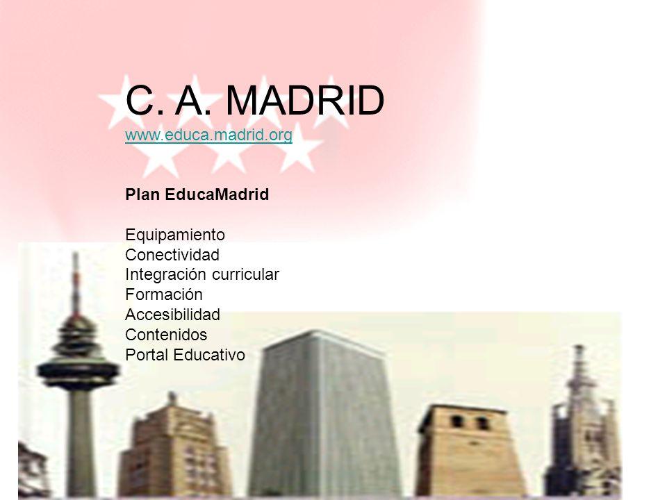 melchor.gomez@uam.es Universidad Autónoma de Madrid C. A. MADRID www.educa.madrid.org www.educa.madrid.org Plan EducaMadrid Equipamiento Conectividad