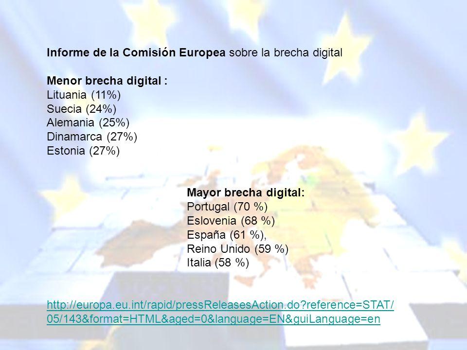 melchor.gomez@uam.es Universidad Autónoma de Madrid Informe de la Comisión Europea sobre la brecha digital Menor brecha digital : Lituania (11%) Sueci
