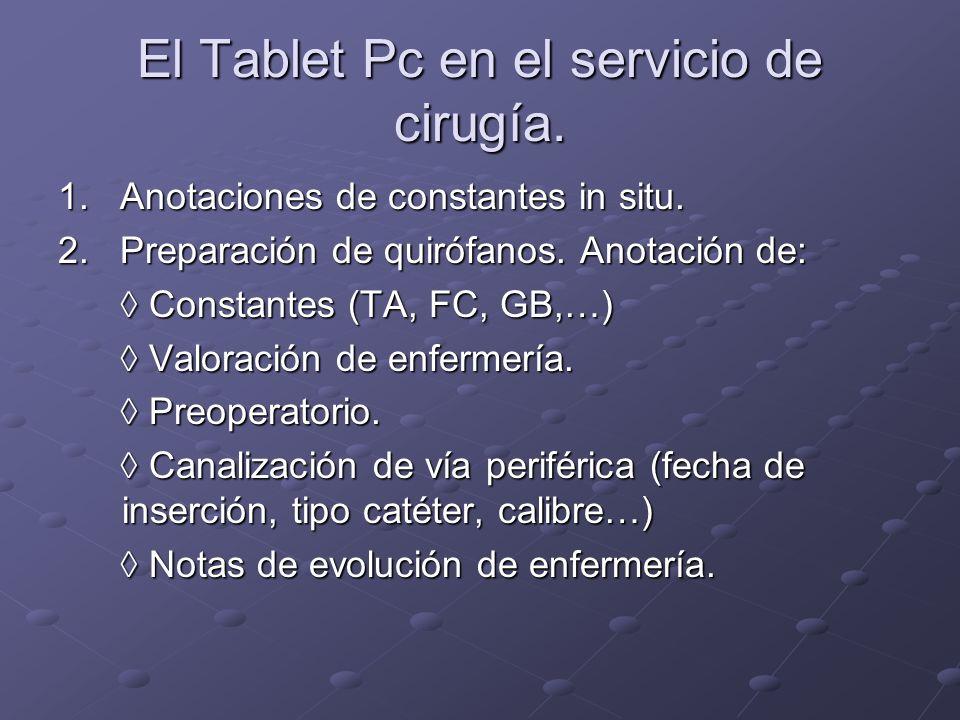 El Tablet Pc en el servicio de cirugía. 1. Anotaciones de constantes in situ. 2. Preparación de quirófanos. Anotación de: Constantes (TA, FC, GB,…) Co