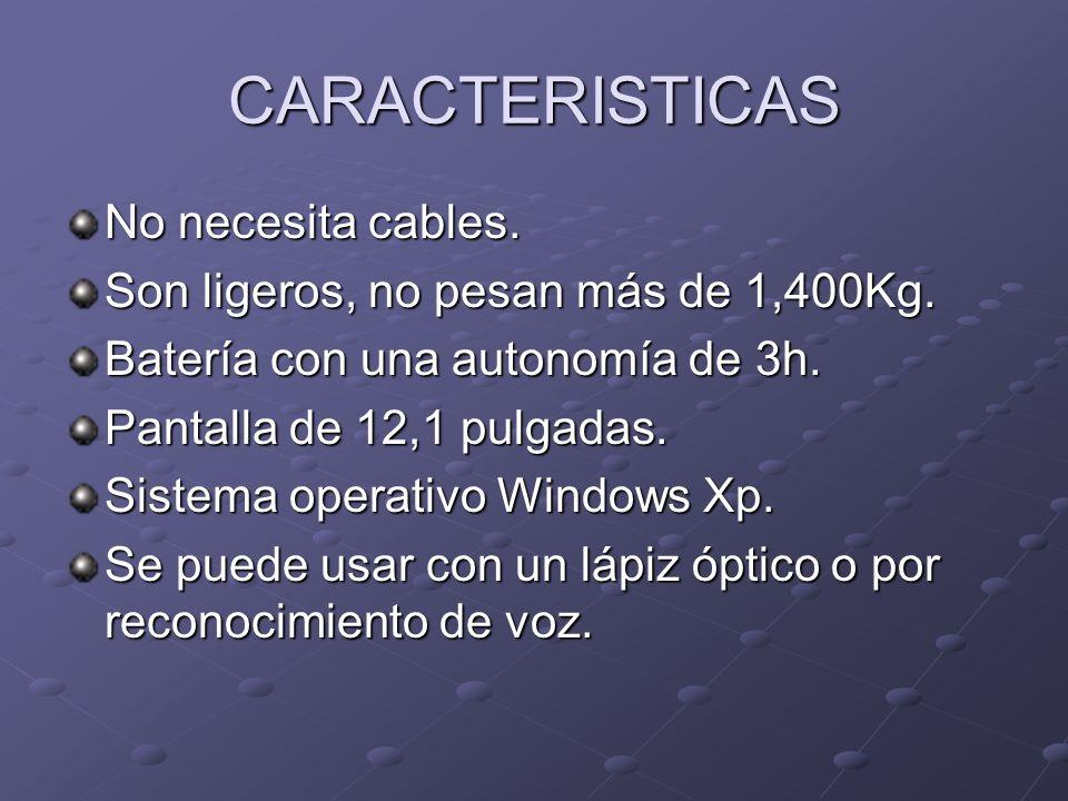 CARACTERISTICAS No necesita cables. Son ligeros, no pesan más de 1,400Kg. Batería con una autonomía de 3h. Pantalla de 12,1 pulgadas. Sistema operativ
