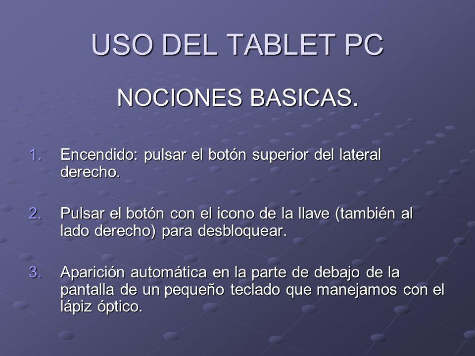 USO DEL TABLET PC NOCIONES BASICAS. 1.Encendido: pulsar el botón superior del lateral derecho. 2.Pulsar el botón con el icono de la llave (también al