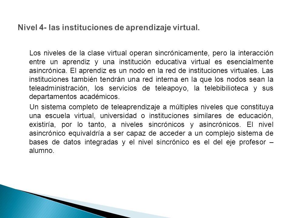 Los niveles de la clase virtual operan sincrónicamente, pero la interacción entre un aprendiz y una institución educativa virtual es esencialmente asincrónica.
