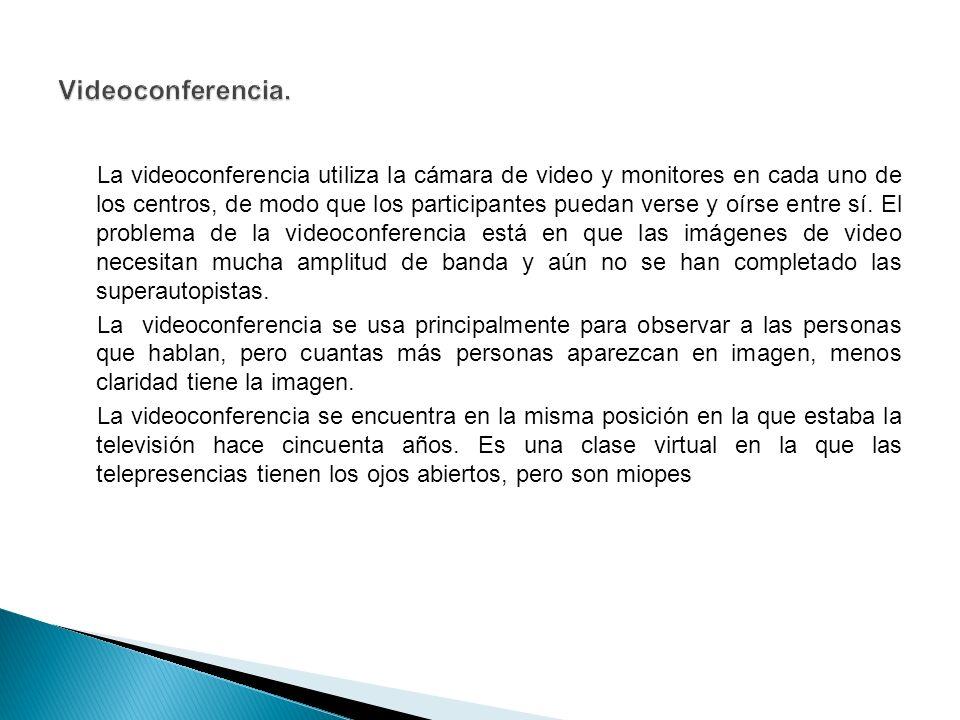 La videoconferencia utiliza la cámara de video y monitores en cada uno de los centros, de modo que los participantes puedan verse y oírse entre sí.