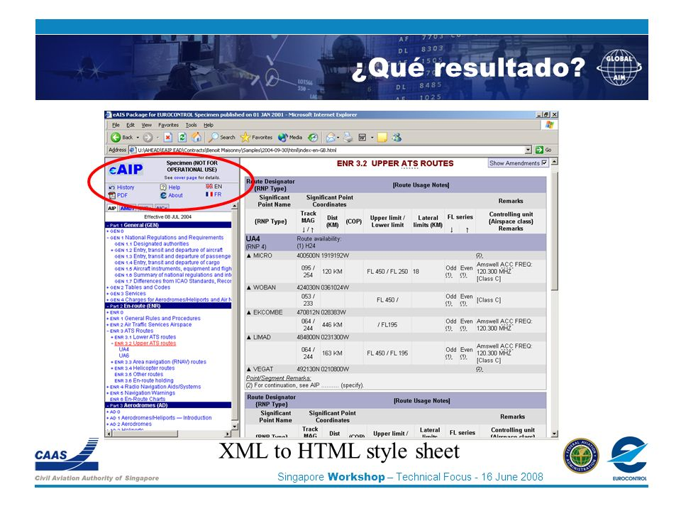 Singapore Workshop – Technical Focus - 16 June 2008 XML to HTML style sheet ¿Qué resultado