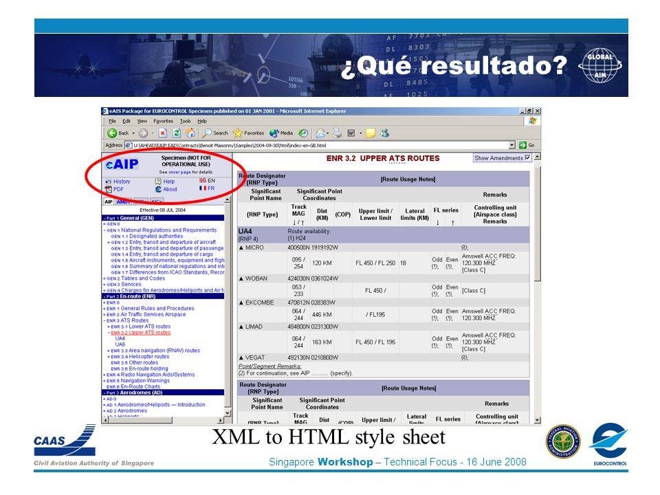 Singapore Workshop – Technical Focus - 16 June 2008 XML to HTML style sheet ¿Qué resultado?