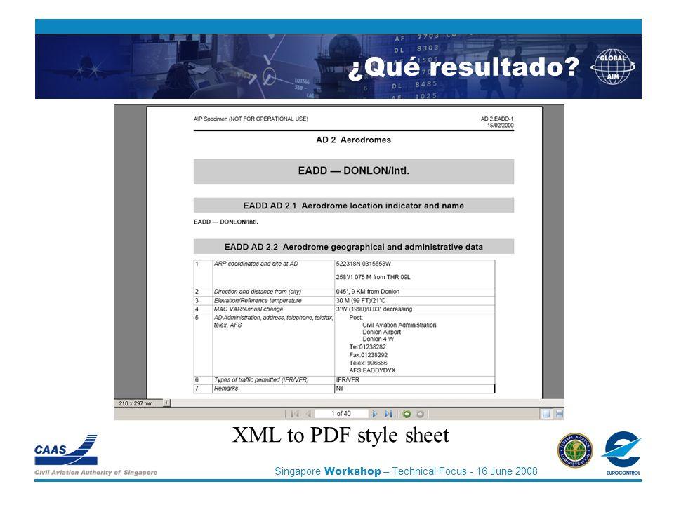 Singapore Workshop – Technical Focus - 16 June 2008 XML to PDF style sheet ¿Qué resultado?