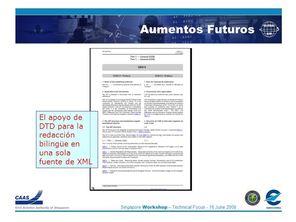 Singapore Workshop – Technical Focus - 16 June 2008 El apoyo de DTD para la redacción bilingüe en una sola fuente de XML Aumentos Futuros
