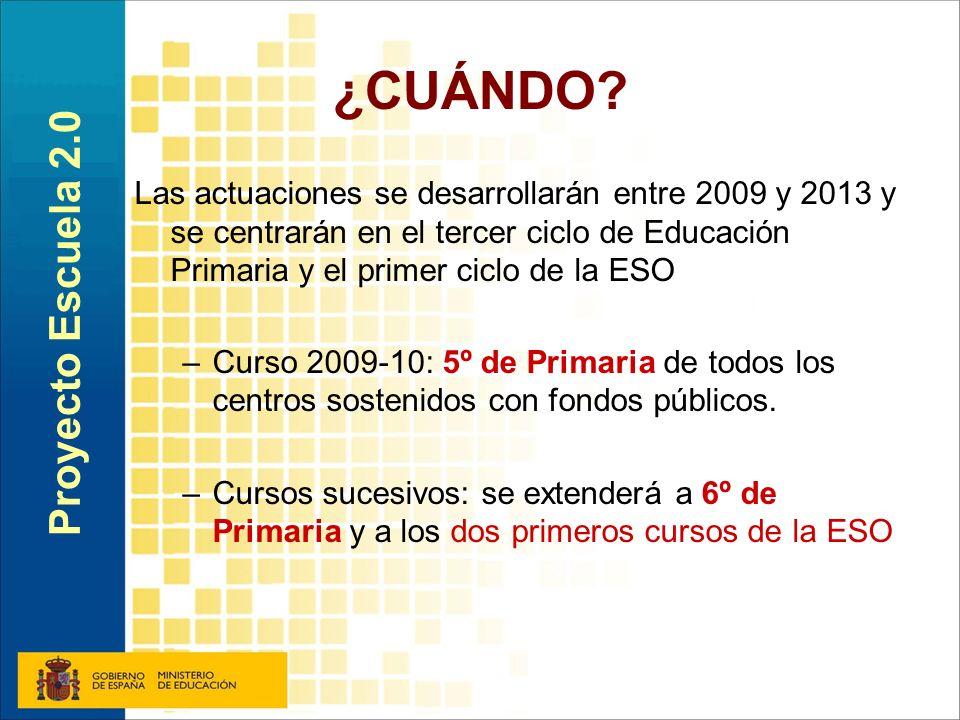 ¿CUÁNDO? Las actuaciones se desarrollarán entre 2009 y 2013 y se centrarán en el tercer ciclo de Educación Primaria y el primer ciclo de la ESO –Curso