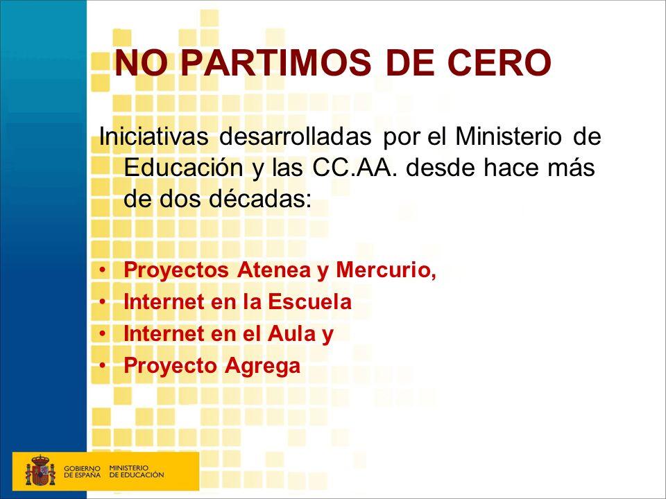 NO PARTIMOS DE CERO Iniciativas desarrolladas por el Ministerio de Educación y las CC.AA. desde hace más de dos décadas: Proyectos Atenea y Mercurio,