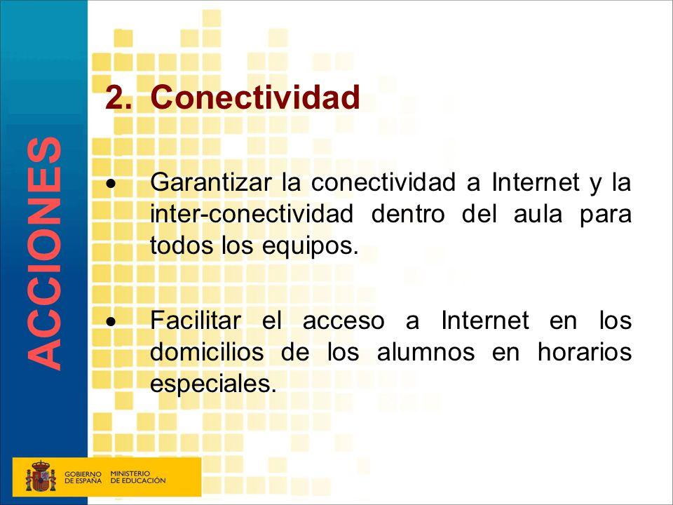 2.Conectividad Garantizar la conectividad a Internet y la inter-conectividad dentro del aula para todos los equipos. Facilitar el acceso a Internet en