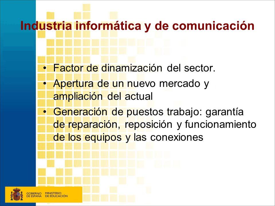 Industria informática y de comunicación Factor de dinamización del sector. Apertura de un nuevo mercado y ampliación del actual Generación de puestos