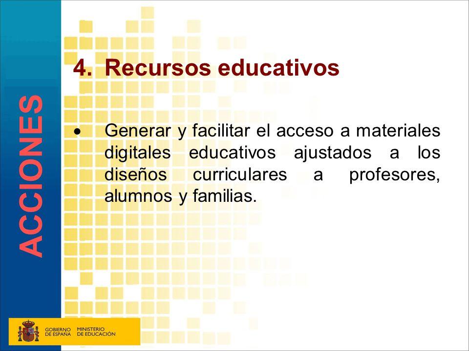 4.Recursos educativos Generar y facilitar el acceso a materiales digitales educativos ajustados a los diseños curriculares a profesores, alumnos y fam