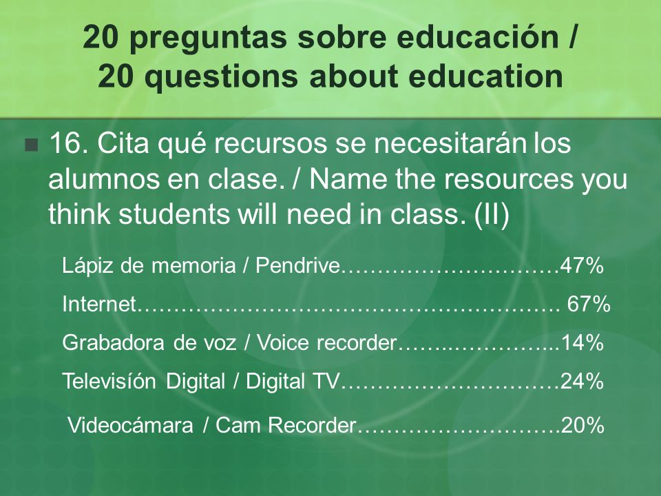20 preguntas sobre educación / 20 questions about education 16.