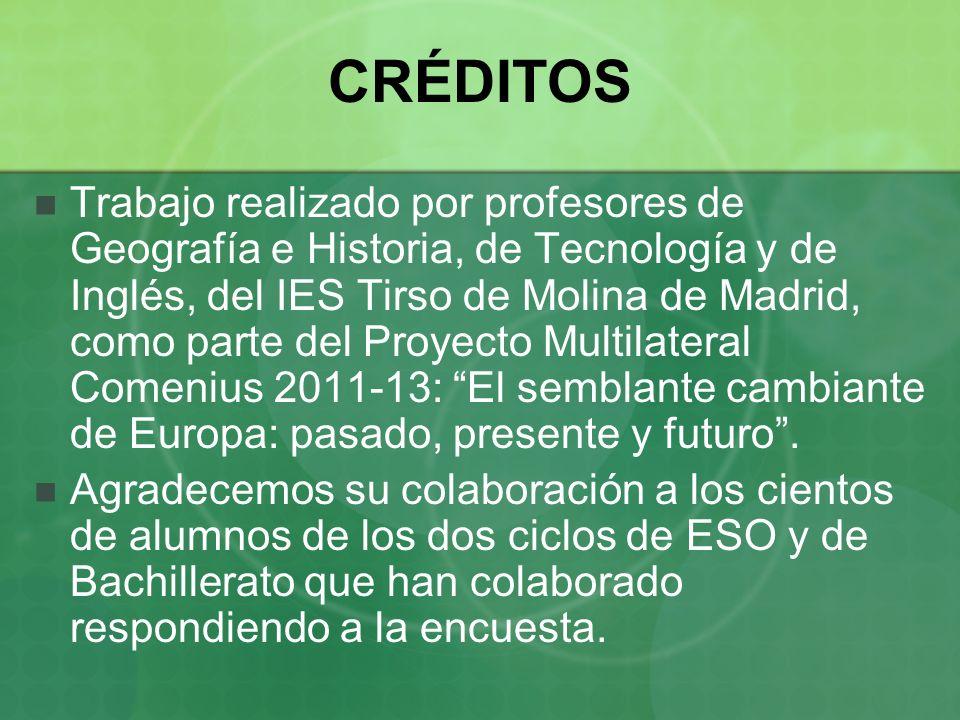 CRÉDITOS Trabajo realizado por profesores de Geografía e Historia, de Tecnología y de Inglés, del IES Tirso de Molina de Madrid, como parte del Proyecto Multilateral Comenius 2011-13: El semblante cambiante de Europa: pasado, presente y futuro.
