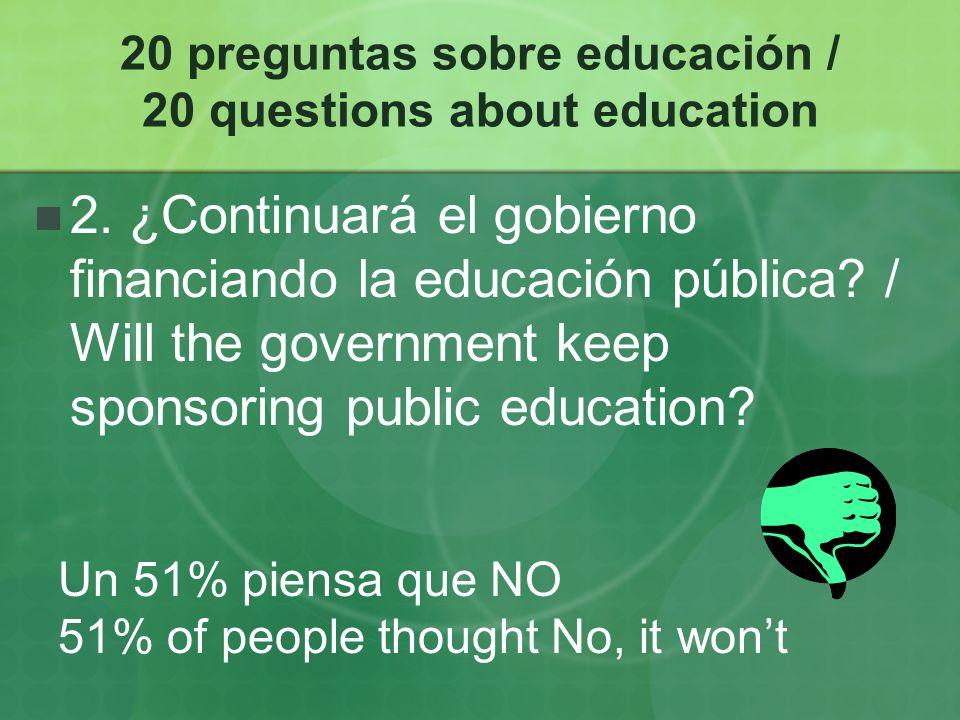 20 preguntas sobre educación / 20 questions about education 3.