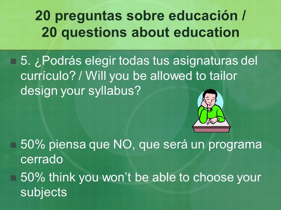 20 preguntas sobre educación / 20 questions about education 6.